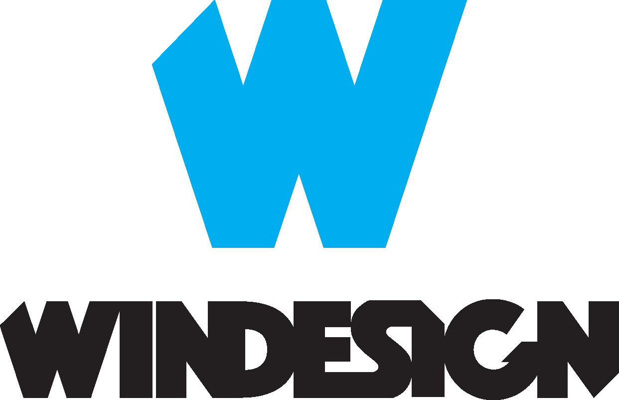 windesign logo cyan black